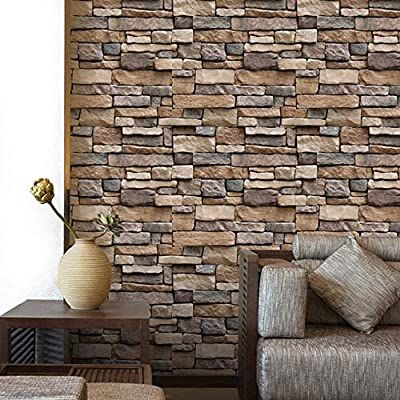 Yenhome 17 7 X 196 Stone Brick Wall Paper Stick And Peel Waterproof Removable Wallpaper For Kitchen Backsplash Brick Wallpaper Wall Wallpaper Stone Wallpaper