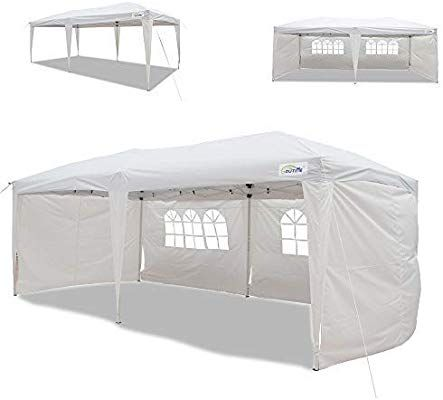 Amazon Com Goutime 10x20 Ft Ez Pop Up Canopy Tent With 4pcs 10ft Removable Sidewalls And Wheeled Bag For Outdoor Part Canopy Tent Party Canopy Camping Canopy