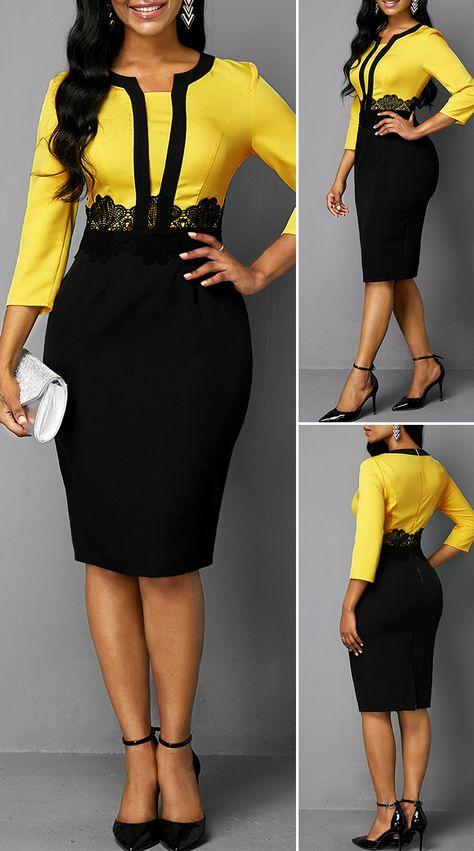 Color Block Lace Panel Back Zipper Sheath Dress