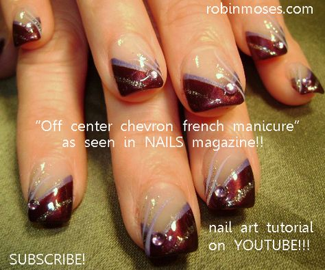 french nail art design, COLORFUL alternative french with floral nail from Nadine Cahill French nails Nail Art Designs, French Manicure Nail Designs, Gold Manicure, Nails Design, Design Design, Manicure Colors, Shellac Nails, Manicure Ideas, Chevron Nail Art