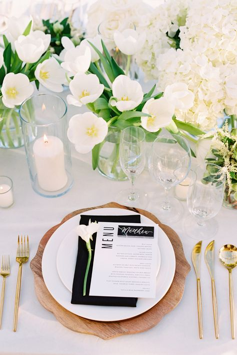 From the editorial Intimate Santa Barbara Wedding Planned In Just Four Weeks. If you're a sucker for love like us, you won't want to miss the full gallery of images (including more of this gorgeous tabletop!) on SMP, captured beautifully by @kristinaadamsphoto! #stylemepretty #weddingtable #classicwedding #alfresco #alfrescowedding #microwedding