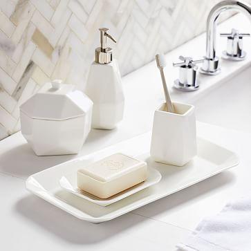 Faceted Porcelain Bath Accessories White West Elm Beautiful