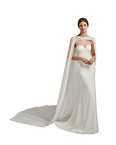 kelaixiang Women Tulle Cape Veil Cathedral Length Lace Applique for Bridal Stylish