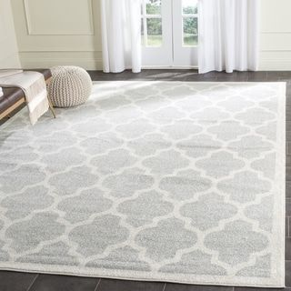 Safavieh Indoor Outdoor Amherst Light Grey Beige Rug 12 X 18 Area Rugs Rugs Geometric Area Rug