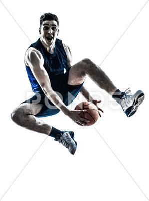 Caucasian Man Basketball Player Jumping Silhouette Stock Image 38133586 Basketball Players Mens Basketball Silhouette