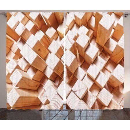 Geometric Decor Curtains 2 Panels Set Natural Wooden Rustic Square Figures High And Low Oak Logs Tim Log Home Decorating Rustic Log Furniture Log Home Designs