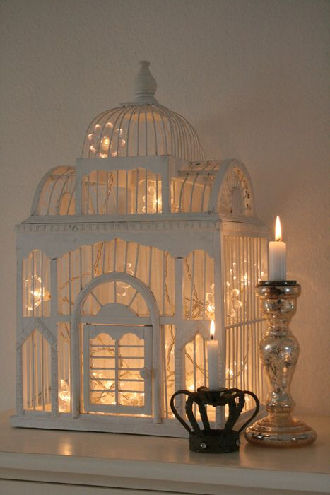 white bird cage, christmas lights. OOOooo... I think I see a new color for my existing similar bird cage along with sparkly snow and lights!