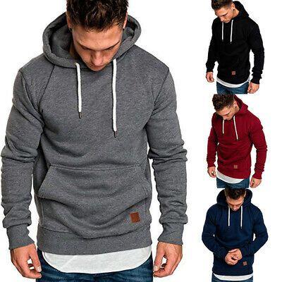 Mens Winter Hoodie Slim Hooded Sweatshirts Sports Pullover Jackets Outwear Tops