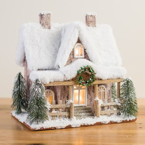 Lighted Snowy Log Cabin Christmas Village House with Fur Accents - Tabletop Holiday Decoration Christmas Village Houses, Christmas Village Display, Christmas Gingerbread House, Christmas Town, Woodland Christmas, Christmas Villages, Christmas Paper, Rustic Christmas, Putz Houses