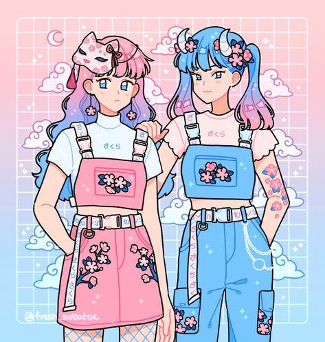 Sakura Sisters , an art print by fresh_bobatae - INPRNT