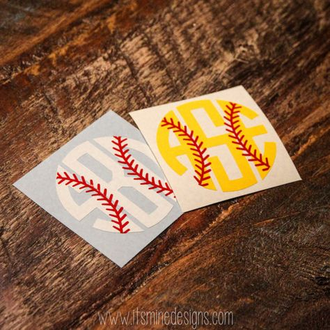 Baseball or Softball Monogram Sticker or Decal by ItsMineDesigns