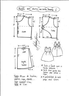 Patrón Para Hacer Un Precioso Vestido Para Niñas Con La Espalda Abierta Tallas Desde 1 A 14 Año Kids Dress Patterns Girls Dress Sewing Patterns Kids Patterns