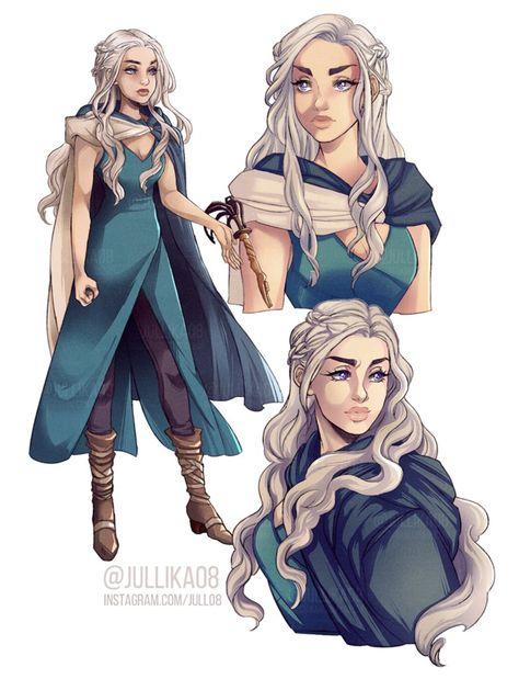 Game of Thrones - Daenerys Targaryen by Jullika on DeviantArt Art Game Of Thrones, Dessin Game Of Thrones, Dnd Characters, Fantasy Characters, Female Characters, Character Creation, Character Art, Character Sheet, Daenerys Targaryen Art