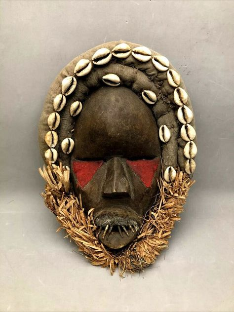 Antique Vintage Japanese Wooden decorative Masks Set of 2 shell teeth and eyes