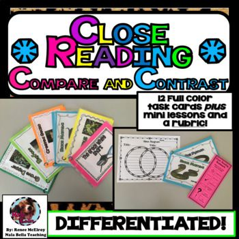 Distance Learning Compare and Contrast Task Cards With Close Reading Lessons