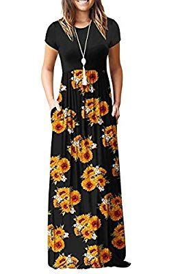 Auselily Women Short Sleeve Loose Plain Casual Long Maxi Dresses With Pockets 2xl Sunflowers Maxi Dress Long Dress Casual Long Maxi Dress