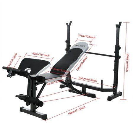 Professional Fitness Olympic Weight Bench For Full Body Workout Bench Rack Multipurpose Weightlifting Mid Width Bench Adjustable Arms Height Home Use Wsy Walm Weight Bench Set Weight Benches Olympic Weights