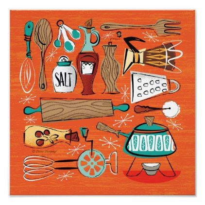Mid Century Kitchen Montage Poster Mid Century Kitchen Kitchen Posters Mid Century Modern Kitchen
