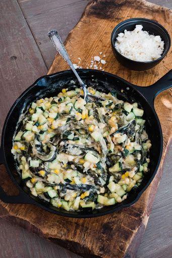 Creamy Zucchini Corn And Poblano Rajas Recipe Yummly Recipe Poblano Recipes Poblano Calabacitas Recipe