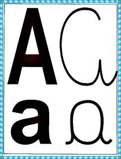 Cartazes Alfabeto Quatro Tipos De Letras Com Borda Azul Com