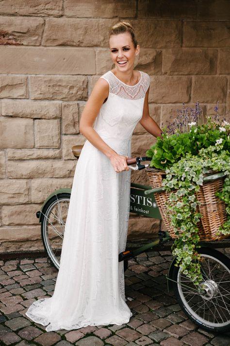 Luxus frische Stile Original wählen Brautkleid mit Trägern aus transparenter Spitze – mit ...