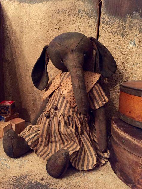 FLORENCE Elephant by VillagePrimitivesbyM on Etsy https://www.etsy.com/listing/222025779/florence-elephant