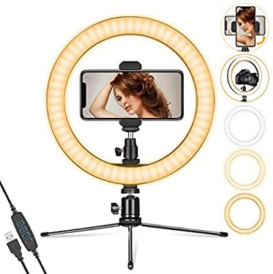 Amazon Com Ring Light 10 With Stand Phone Holder For Youtube Video Dimmable Desk Led Ring Light With Cell Ph In 2020 Cell Phone Holder Led Ring Light Phone Holder