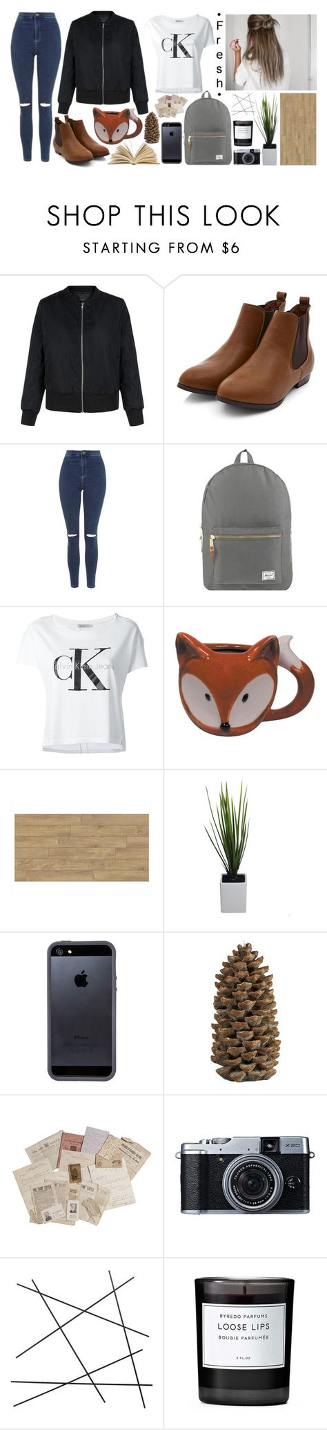 """""""No. 436"""" by emmdaisy ❤ liked on Polyvore featuring Topshop, Herschel Supply Co., Calvin Klein Jeans, Tavik Swimwear, Crate and Barrel, Fujifilm, CB2 and Byredo"""