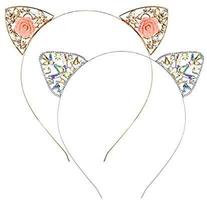 Amazon Com Cat Ears Headband For Women Girls 2 Pcs Metallic