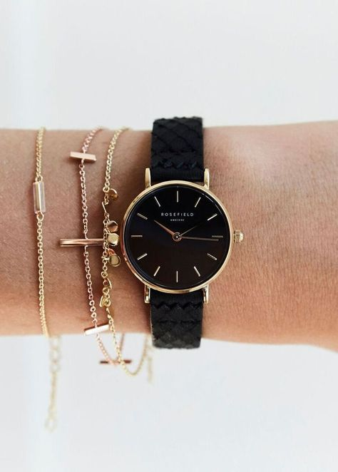 - Luxury Watches - The Small Edit Black Black Gold Gold women's watch - Black strap