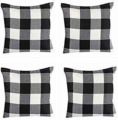 Amazon Com Steven Smith 4 Pack Farmhouse Decorative Black White Buffalo Check Plaids Throw Pillow Cases Cotto Plaid Throw Pillows Pillows Farmhouse Chairs