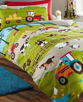 Farmyard Animals Green Boys Girls Reversible Single Duvet Cover Bedding Set New
