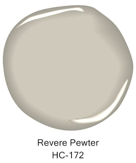 Here's the Best Way to Use Greige Paint in Your Home Benjamin Moore revere pewter / This light gray shade features warm undertones. Revere Pewter Living Room, Revere Pewter Paint, Revere Pewter Benjamin Moore, Benjamin Moore Colors, Benjamin Moore Paint, Revere Pewter Kitchen, Paint Colors For Living Room, Paint Colors For Home, Room Paint