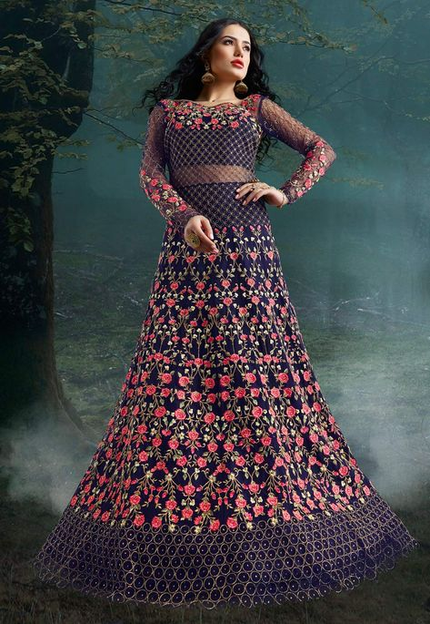 Buy Navy Blue Net Embroidered Floor Length Anarkali Suit 195933 online at lowest price from huge collection of salwar kameez at Indianclothstore.com.