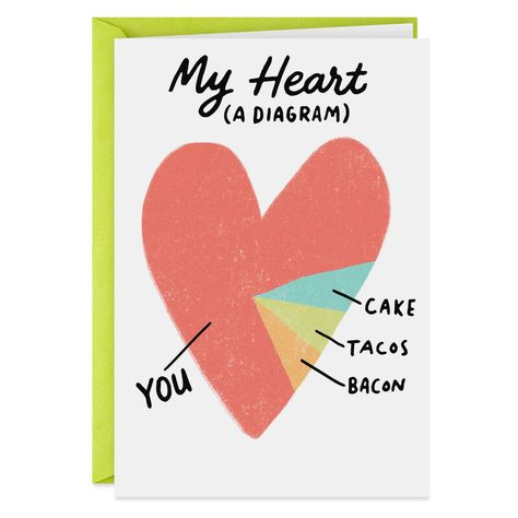 Who needs a pie chart when you can show off your heart chart to the one who occupies most of it? Birthday card features glossy lettering and a sweet message. Sister Birthday Funny, Birthday Cards For Girlfriend, Anniversary Cards For Husband, 16th Birthday Card, Funny Birthday Cards, Simple Birthday Cards, Birthday Card Sayings, Homemade Birthday Cards, Kids Birthday Cards