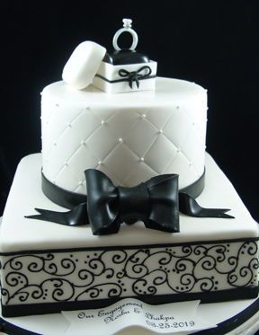 Black And White Engagement Cake Queen Cakes Cake Engagement Cakes