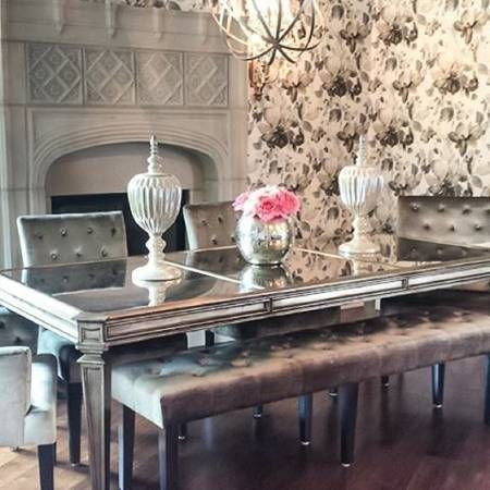 Z Gallerie Empire Dining Table Champagne Mirrored Brand New