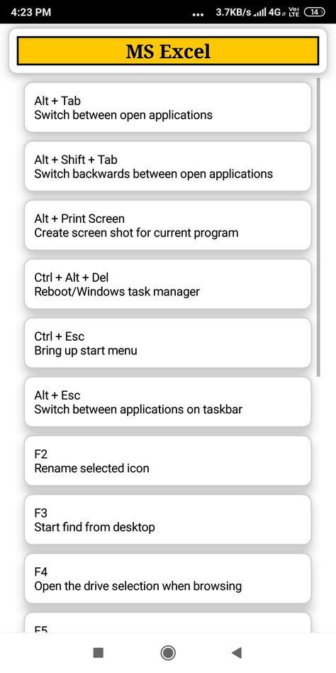 COMPUTER SHORTCUT KEYS : A TO Z COMPUTER SHORTCUTS for