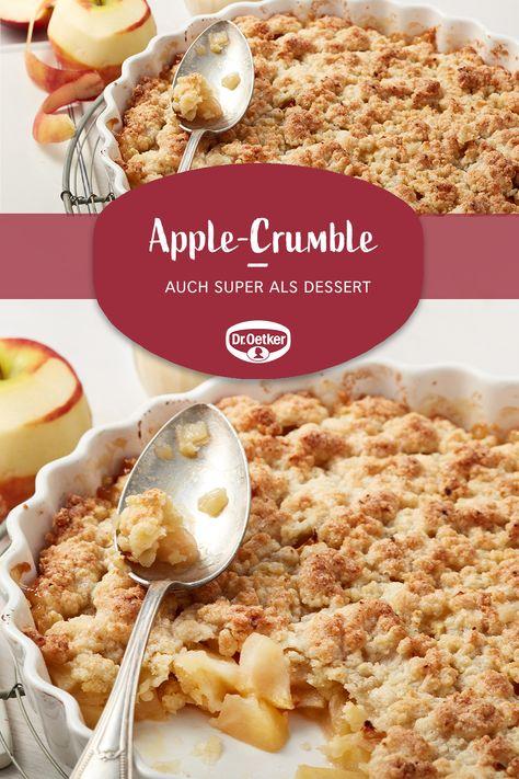Apple-Crumble: Dieser Apfel-Crumble - ein warmer Apfelkuchen mit Streuseln - schmeckt auch super als Dessert! #dessert #crumble #nachspeise