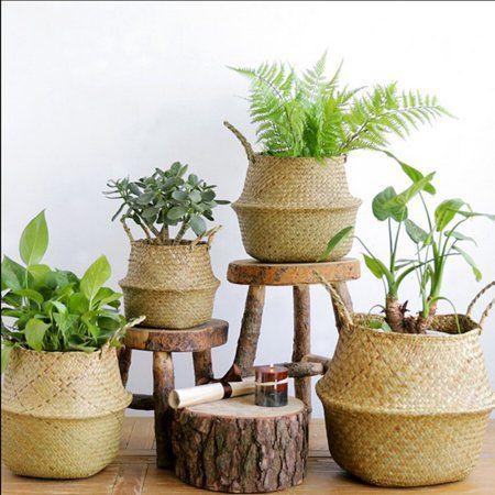 Sweetsmile Home Seagrass Wickerwork Basket Foldable Rattan