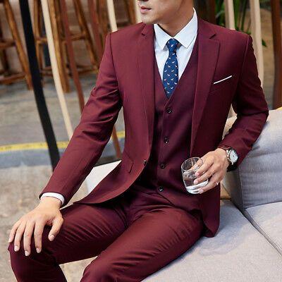 Details About Slim Fit Suit Men S Burgundy Suit 3 Piecec Tuxedo