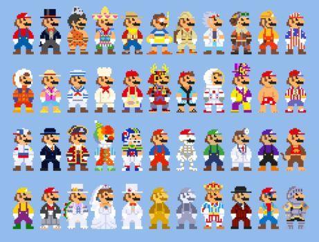 Super Mario Odyssey Costumes 8 Bit Sprites By