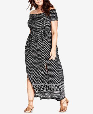 4a781307679 City Chic Trendy Plus Size Off-The-Shoulder Maxi Dress - Dresses - Plus