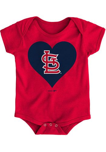 3aa4a293 St Louis Cardinals Baby Red Heart Short Sleeve One Piece - 13346316 ...