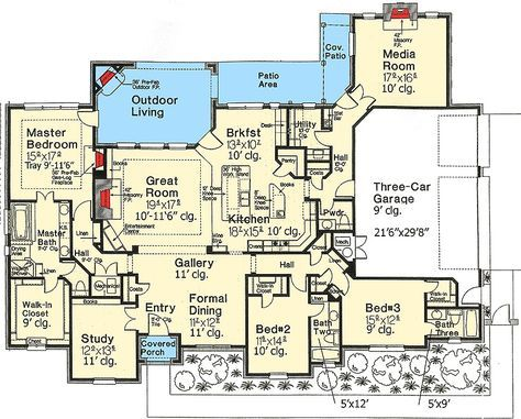Plan 48293fm Everything On One Floor Safe Room House Plans Floor Plans