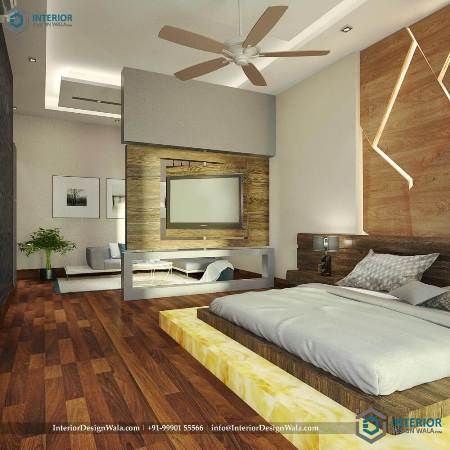 Master Bedroom Interior With Rotating Tv Mount With Wooden Flooring Platform B With Images Online Interior Design Services Master Bedroom Interior Online Interior Design