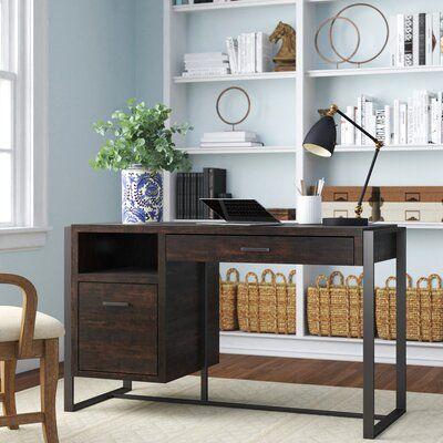 Williston Forge Schrock Home Office Desk In 2020 Solid Wood Desk