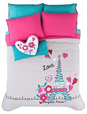 d4a2925fee098 Amazon.com: Paris Chic EIFFEL TOWER French,Teen Girls Comforter Set ...