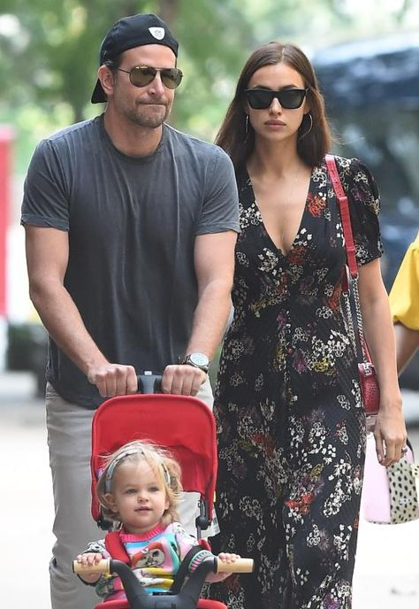 Bradley Cooper and Irina Shayk take their daughter Lea Shayk Cooper for a walk in New York City on Oct. 4, 2018.