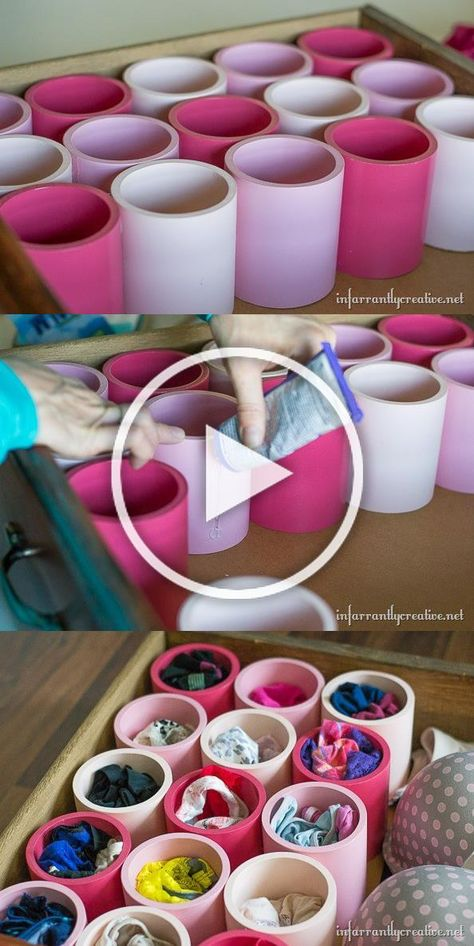 8.Paint PVC pipe to separate your underwear | Featured at youtube.com/simplehomeartdecorideas